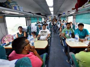 Passengers aboard the newly launched 'Gatimaan Express', India's first semi-high speed train.