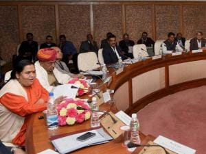 Union Minister of Water Resources, Uma Bharti addressing during the 8th meeting of the Special Committee for Interlinking of Rivers, in New Delhi