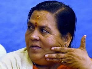 Union Minister of Water Resources, Uma Bharti  during the 8th  meeting of the Special Committee for Interlinking of Rivers, in New Delhi