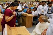 HRD Minister Smriti Irani interacts with Governor of  Rajasthan Kalyan Singh