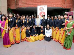 Air India CMD, Ashwani Lohani with the women crew of Air India poses for a photograph
