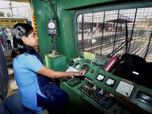 Locomotive pilot Tinki Kumari operating the Patna-Buxar local passenger train from Patna junction on the occasion of International Women's Day