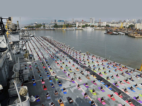 sailors, sailors of Indian Navy, INS Viraat, Indian Navy, International Yoga day, World Yoga Day