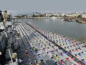 International Yoga day Officers and sailors perform Yoga on INS Viraat_01