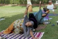 People take part in Yoga trainings for preparations of the International Yoga Day