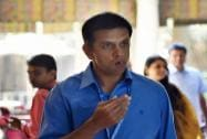 Rajasthan Royals mentor Rahul Dravid arrives to take part in the IPL Season 8 auction