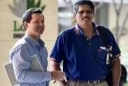 Ricky Ponting with Delhi Daredevils director T A Sekhar in the IPL Season 8 Auction