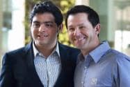 Ricky Ponting with Mukesh Ambani's son Akash Ambani at the IPL Season 8 Auction