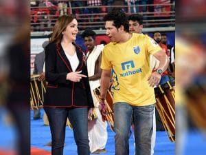 Sachin Tendulkar and Nita Ambani during Indian Super League ( ISL)