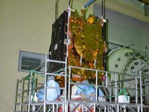 GSAT-9 being prepared for vibration test