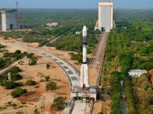 Panoramic View of GSLV-F06 being moved to launch pad