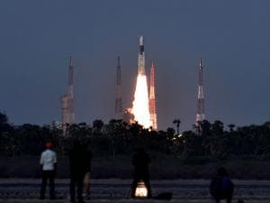 GSLV Mk-III, carrying communication satellite GSAT-19, takes off from Satish Dhawan Space Centre