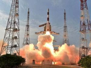 ISRO's PSLV-C32 carrying India's navigation satellite, the IRNSS-1F lifts off successfully from the Satish Dhawan Space Centre, Sriharikota