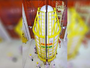 the PSLV-C37, which will carry104 satellites, on the eve of its launch at the spaceport in Sriharikota