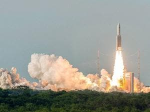 Ariane 5 carrying  India's latest communication satellite GSAT-18 lifts off from the Spaceport Kourou in French Guiana