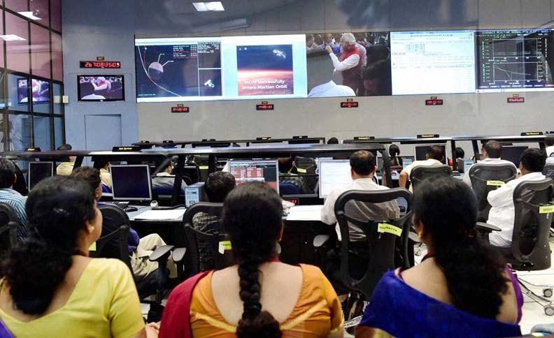 Indian Space Research Organization scientists, officials, watch, Prime Minister, Narendra Modi, celebrate, success, Mars Orbiter Mission, Bengaluru