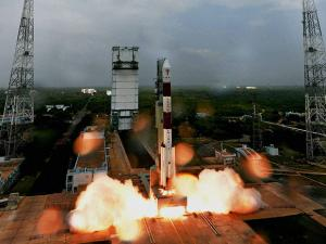 Indian Space Research Organisation (ISRO)'s PSLV C36 lifts off from Satish Dhawan Space Center
