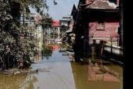 A flooded street at Jawahar Nagar in Srinagar