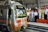 Rajasthan Chief Minister Vasundhara Raje  flagging off the Jaipur Metro from Mansarovar to Chandpole