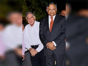 Ratan Tata  with Natarajan Chandrasekaran, Chairman of Tata Sons,