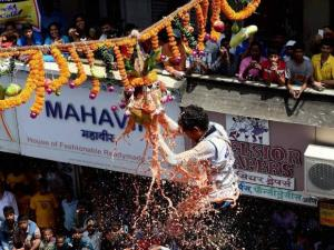 A team of Govindas breaking Dahi Handi