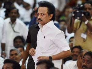 DMK Treasurer M K Stalin and a host of party colleagues attend AIADMK Supremo J Jayalalithaa's   swearing-in ceremony as Chief Minister of Tamil Nadu in Chennai