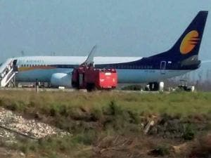 The Jet Airways flight that was evacuated after a hoax bomb call in Dehradun