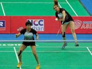 Jwala Gutta, front and Ashwini Ponnappa, during the women's Doubles event of Badminton Asia Team Championships