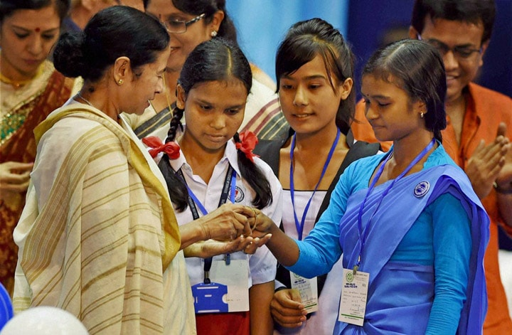West Bengal, Chief Minister, Mamata Banerjee, shows bangles, dedicates, girls, Kanyashree Prakalpa