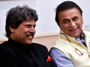 Former Indian captains Kapil Dev and Sunil Gavaskar during the Legends Club felicitations function at CCI in Mumbai