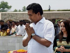 Sacked Delhi Water Minister Kapil Mishra addressing a media at Rajghat