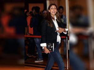 Amitabh Bachchan's daughter Shweta Bachchan Nanda during the launch of filmmaker Karan Johar's biography 'An Unsuitable Boy'