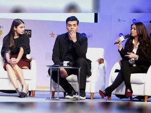 Karan Johar and  Anushka Sharma and Aishwarya Rai Bachchan