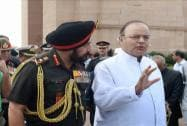 Defence Minister Arun Jaitley talks to the Chief of Army Staff, General Bikram Singh