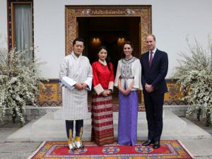 In this photo provided by Royal Kingdom of Bhutan, from left to right, Bhutan's King Jigme Khesar Namgyel Wangchuk, Bhutan's Queen, Jetsun Pema, Kate, Duchess of Cambridge and Britain's Prince Wiliam