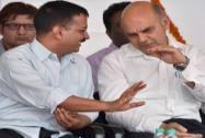 Arvind Kejriwal with Delhi Chief Secretary K K Sharma