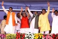 Chief Minister Manohar Lal Khattar along with the newly inducted Ministers wave