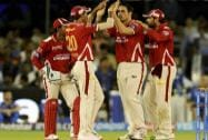 Mitchell Johnson of Kings XI Punjab celebrates the wicket of Ajinkya Rahane