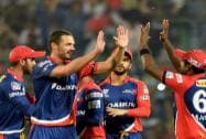Delhi Daredevils players celebrate the wicket of  Suraya Kumar Yadav of  Kolkata Knight Rider