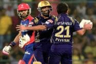 Kolkata Knight Riders players celebrate the wicket of Yuvraj Singh of Delhi Daredevils