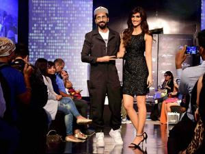 Kriti Sanon and Ayushmann Khurrana during a celebrity fashion show in Mumbai