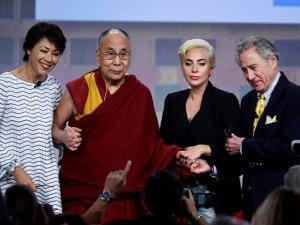 Dalai Lama and Lady Gaga during  U.S. Conference of Mayors in Indianapolis