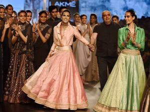 Former super model Padma Lakshmi walks the ramp for designer Tarun Tahiliani