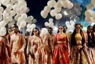Models display creation of designer Sabyasachi Mukherjee during the Lakme Fashion Week Summer/Resort 2015