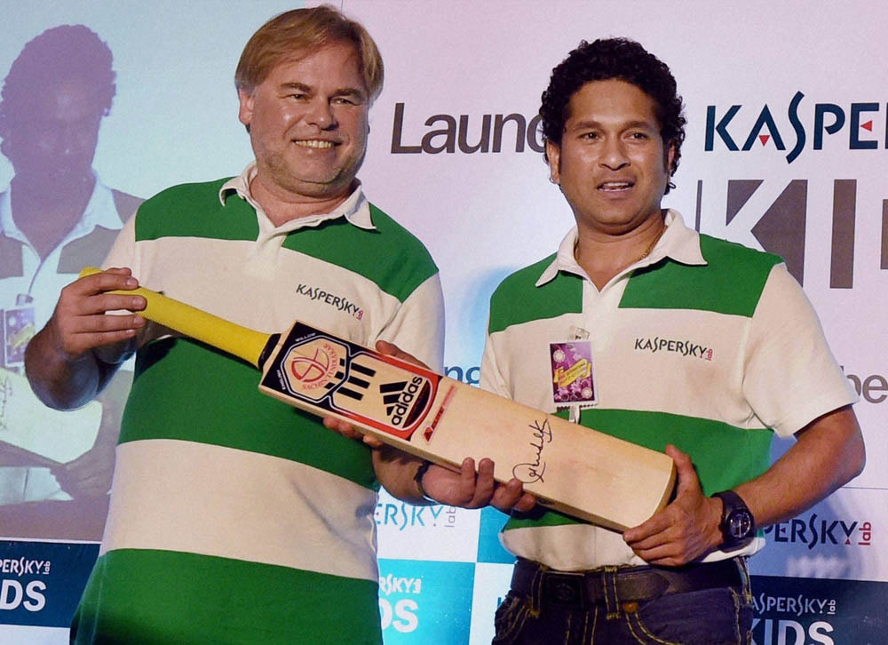 Cricket legend, Sachin Tendulkar, presents, autographed bat, Eugene Kaspersky, Chairman, CEO, Kaspersky, Lab,  launch, Kaspersky Kids, initiative, protect children, against, cyber-crime, Ryan International School, Mumbai