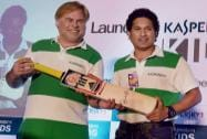 Cricket legend Sachin Tendulkar presents an autographed bat to Eugene Kaspersky, Chairman and CEO, Kaspersky