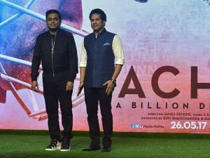Sachin Tendulkar and AR Rehman during his biographical Film 'Sachin A Billion Dreams' Song launch