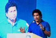 "Cricket legend Sachin Tendulkar speaks at the launch of the campaign ""Shuddh Paani, Swastha Bharat"""
