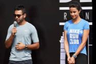 Actress Gul Panag and crickter Parthiv Patel at the launch of the Nike Run Club