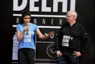 Actress Gul Panag speaks at the launch of the Nike Run Club